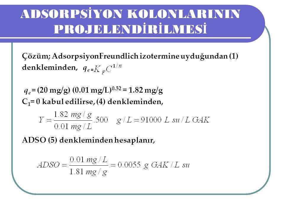 ADSORPS İ YON KOLONLARININ PROJELEND İ R İ LMES İ Çözüm; AdsorpsiyonFreundlich izotermine uyduğundan (1) denkleminden, q e = q e = (20 mg/g) (0.01 mg/L) 0.52 = 1.82 mg/g C 1 = 0 kabul edilirse, (4) denkleminden, ADSO (5) denkleminden hesaplanır,