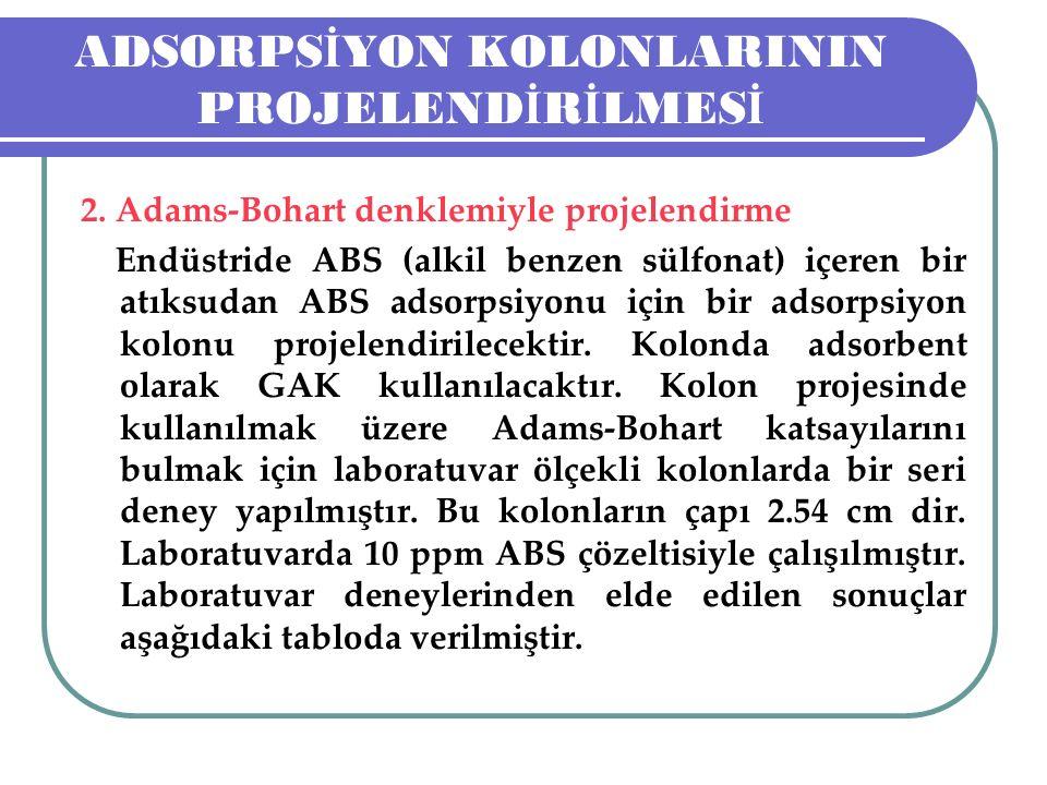 ADSORPS İ YON KOLONLARININ PROJELEND İ R İ LMES İ 2. Adams-Bohart denklemiyle projelendirme Endüstride ABS (alkil benzen sülfonat) içeren bir atıksuda