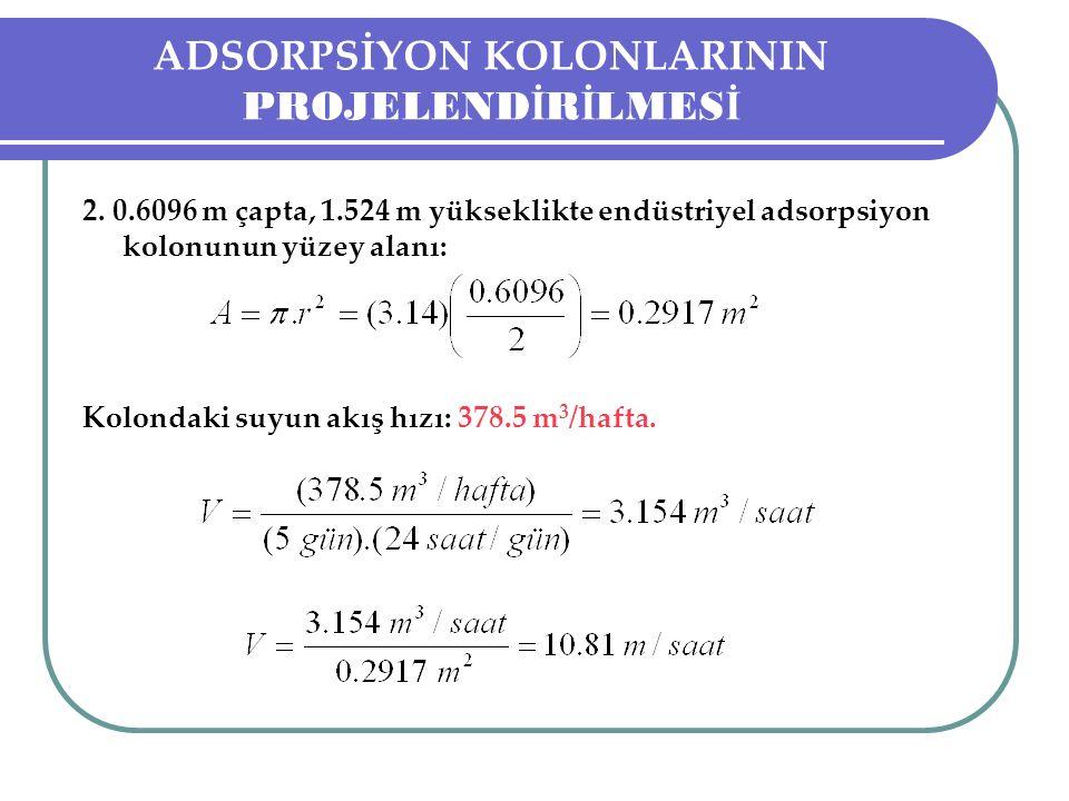 ADSORPSİYON KOLONLARININ PROJELEND İ R İ LMES İ 2. 0.6096 m çapta, 1.524 m yükseklikte endüstriyel adsorpsiyon kolonunun yüzey alanı: Kolondaki suyun