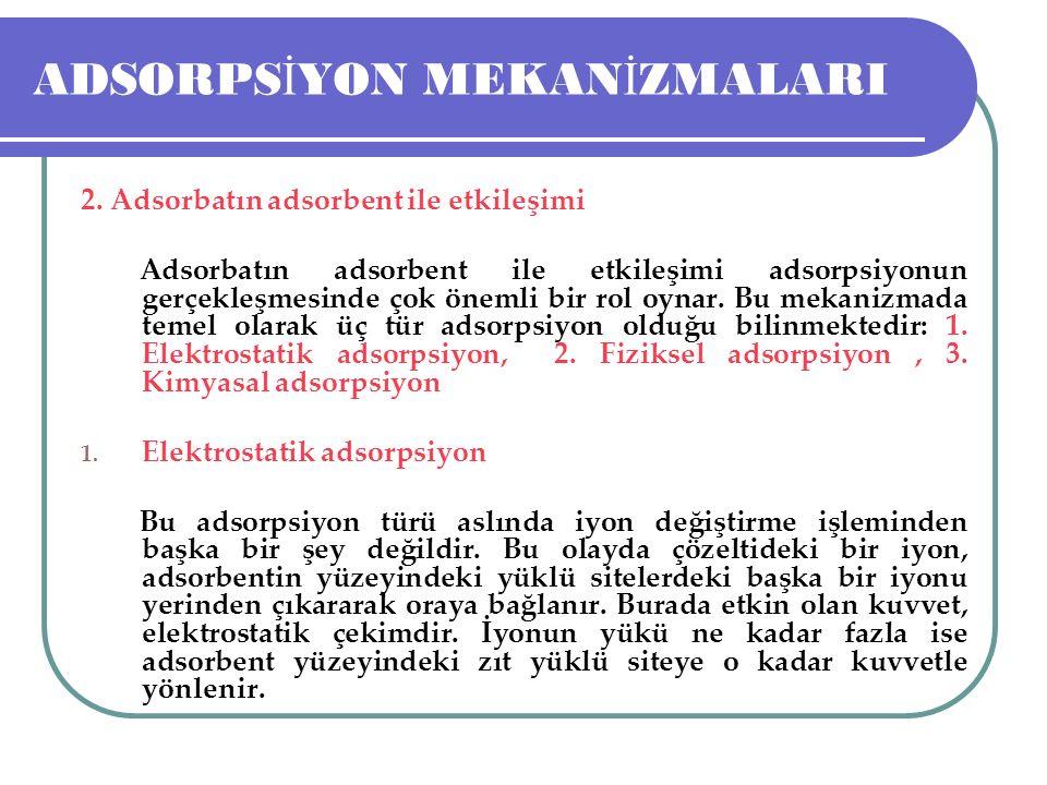 ADSORPS İ YON MEKAN İ ZMALARI 2. Adsorbatın adsorbent ile etkileşimi Adsorbatın adsorbent ile etkileşimi adsorpsiyonun gerçekleşmesinde çok önemli bir