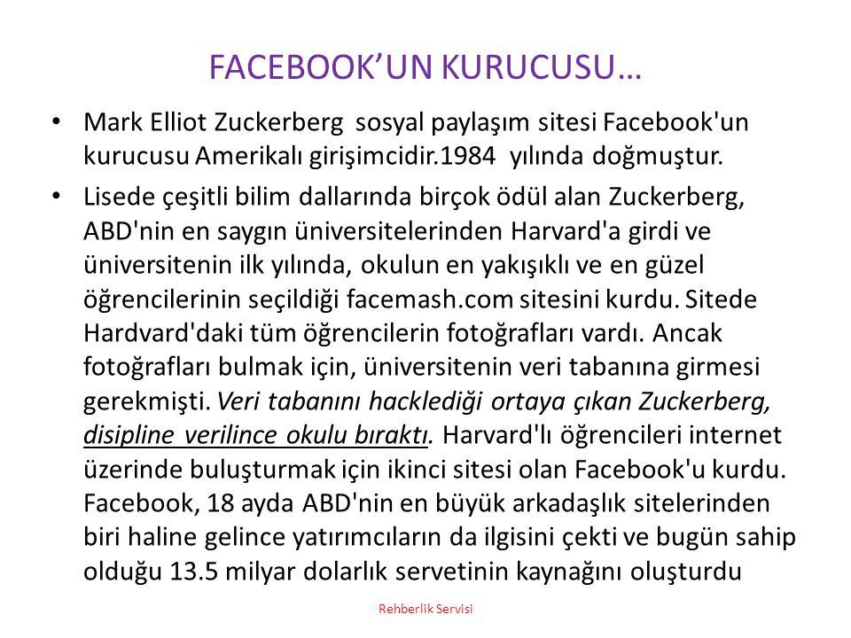 FACEBOOK'UN KURUCUSU… Mark Elliot Zuckerberg sosyal paylaşım sitesi Facebook'un kurucusu Amerikalı girişimcidir.1984 yılında doğmuştur. Lisede çeşitli