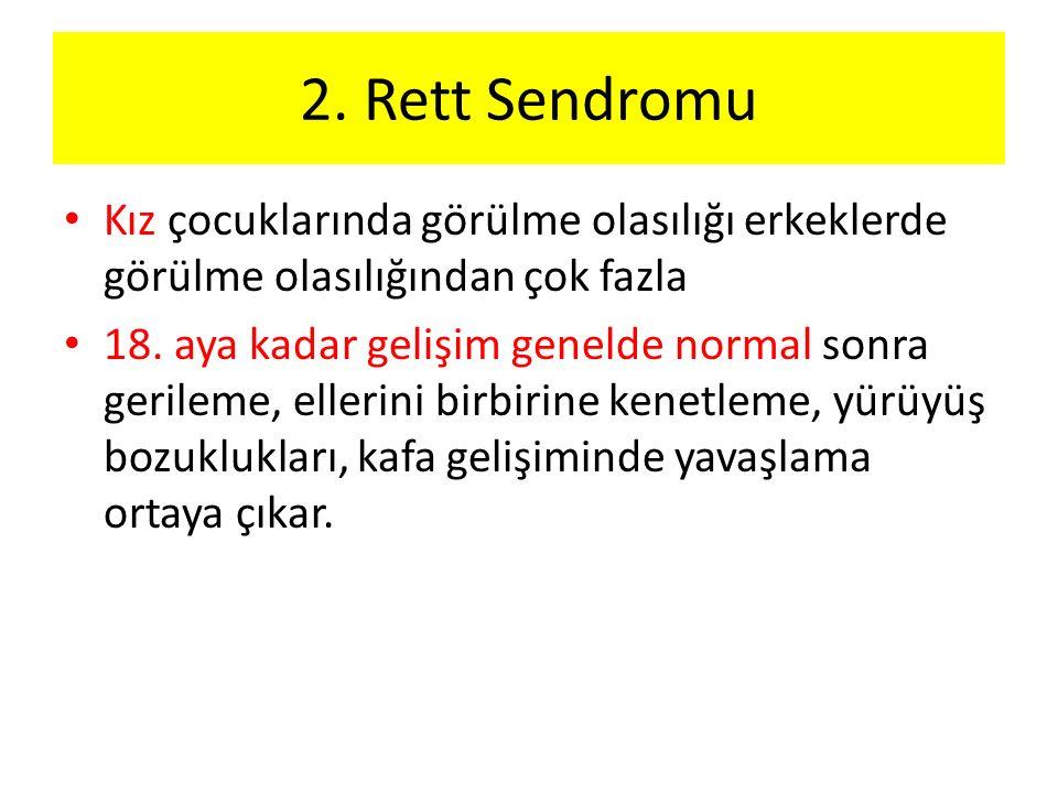 2. Rett Sendromu Kız çocuklarında görülme olasılığı erkeklerde görülme olasılığından çok fazla 18.