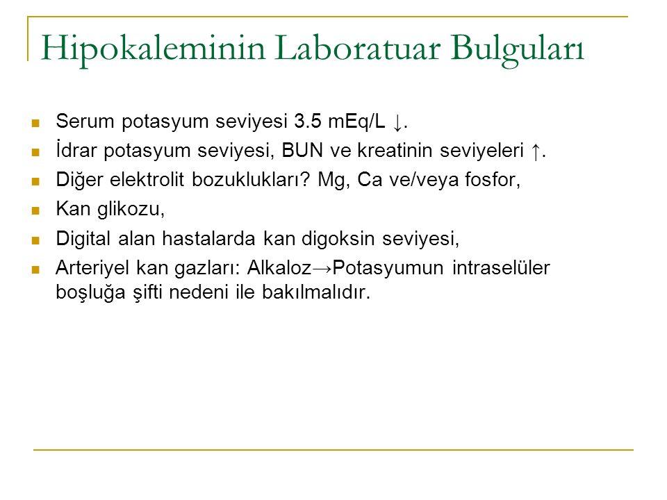 Hipokaleminin Laboratuar Bulguları Serum potasyum seviyesi 3.5 mEq/L ↓.