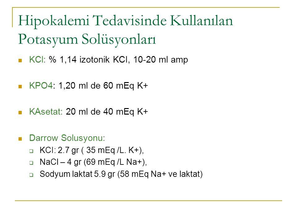 Hipokalemi Tedavisinde Kullanılan Potasyum Solüsyonları KCl: % 1,14 izotonik KCI, 10-20 ml amp KPO4: 1,20 ml de 60 mEq K+ KAsetat: 20 ml de 40 mEq K+ Darrow Solusyonu:  KCI: 2.7 gr ( 35 mEq /L.