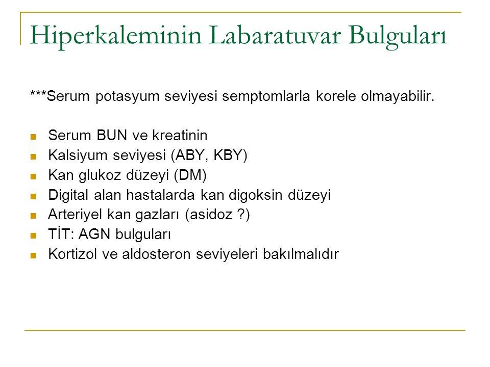 Hiperkaleminin Labaratuvar Bulguları ***Serum potasyum seviyesi semptomlarla korele olmayabilir.