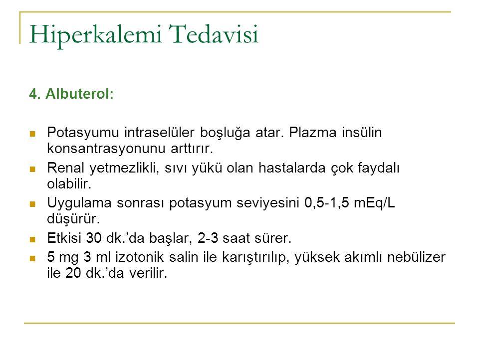 Hiperkalemi Tedavisi 4. Albuterol: Potasyumu intraselüler boşluğa atar.
