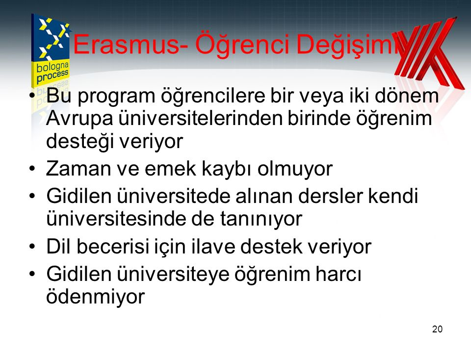 20 Erasmus- Öğrenci Değişimi Bu program öğrencilere bir veya iki dönem Avrupa üniversitelerinden birinde öğrenim desteği veriyor Zaman ve emek kaybı olmuyor Gidilen üniversitede alınan dersler kendi üniversitesinde de tanınıyor Dil becerisi için ilave destek veriyor Gidilen üniversiteye öğrenim harcı ödenmiyor