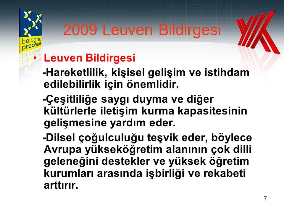7 2009 Leuven Bildirgesi Leuven Bildirgesi -Hareketlilik, kişisel gelişim ve istihdam edilebilirlik için önemlidir. -Çeşitliliğe saygı duyma ve diğer