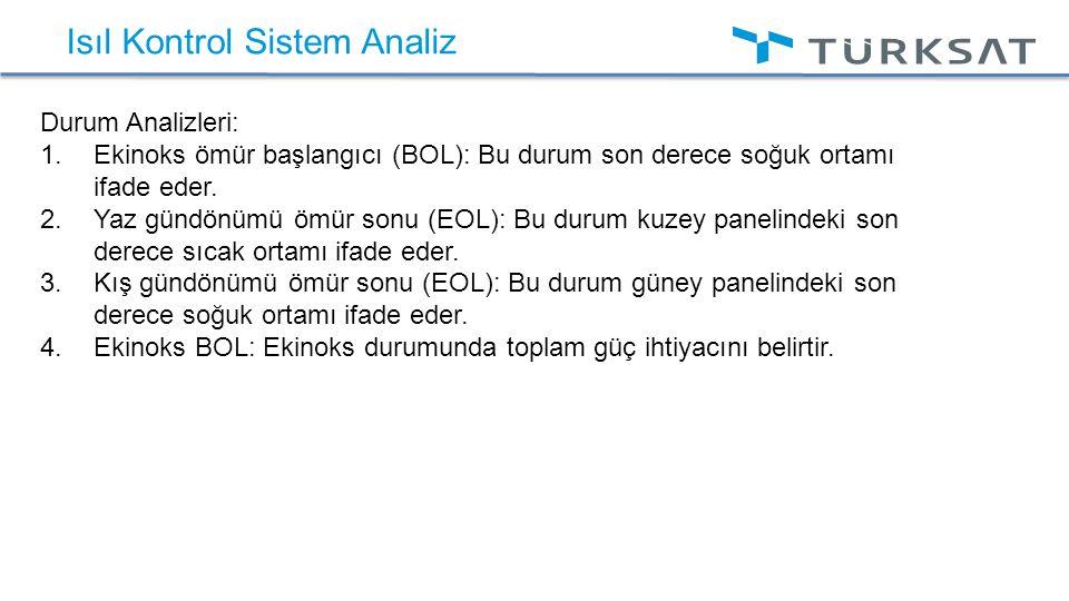 Isıl Kontrol Sistem Analiz Durum Analizleri:  Ekinoks ömür başlangıcı (BOL): Bu durum son derece soğuk ortamı ifade eder.  Yaz gündönümü ömür sonu