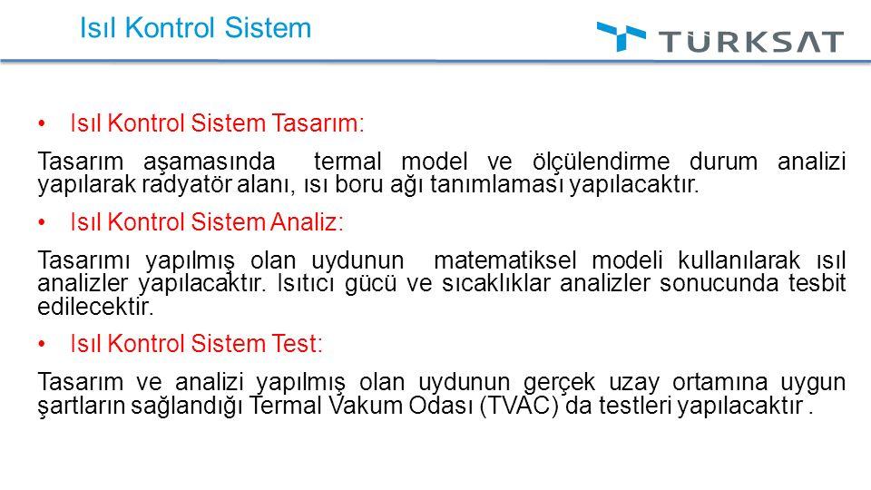 Isıl Kontrol Sistem Isıl Kontrol Sistem Tasarım: Tasarım aşamasında termal model ve ölçülendirme durum analizi yapılarak radyatör alanı, ısı boru ağı