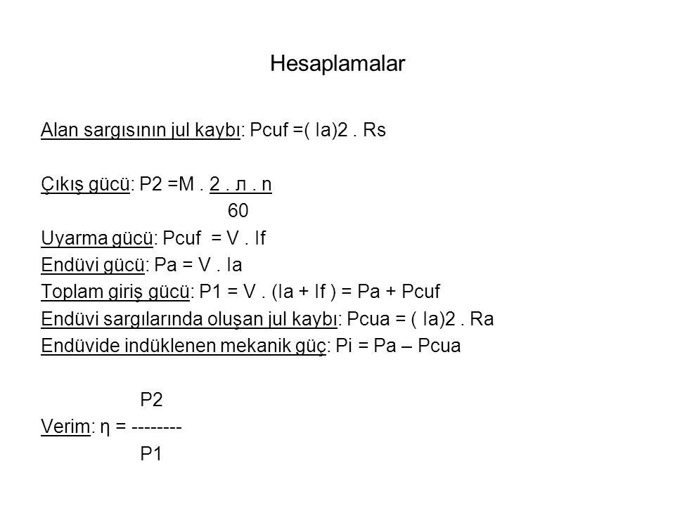 Hesaplamalar Alan sargısının jul kaybı: Pcuf =( Ia)2.