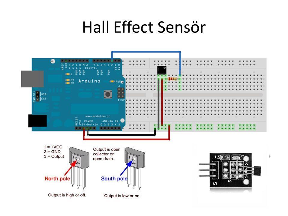 Arduino Kod(Dijital Okuma) const int hallPin = 2; const int ledPin = 13; int hallState = 0; void setup() { pinMode(ledPin, OUTPUT); pinMode(hallPin, INPUT); } void loop(){ // read the hall effect sensor: hallState = digitalRead(hallPin); if (hallState == LOW) { // turn LED on: digitalWrite(ledPin, HIGH); } else { // turn LED off: digitalWrite(ledPin, LOW); }