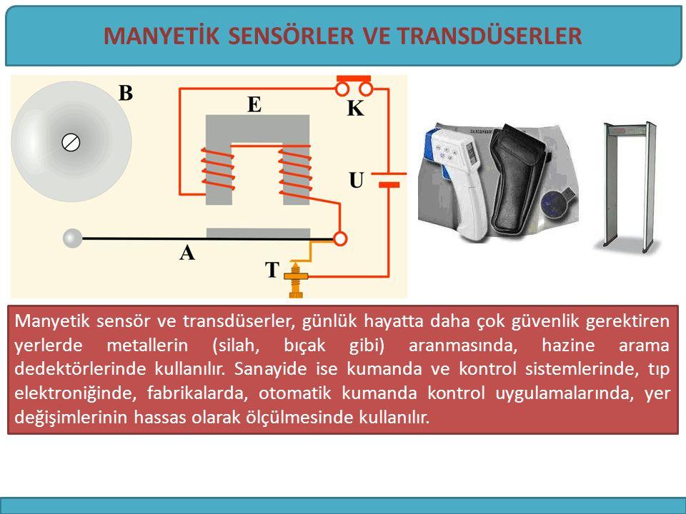 -Bobinli basit manyetik sensör -Manyetik yaklaşım sensörü (endüktif yaklaşım anahtarı, proximity switch) -Alan etkili transdüser (hall effect sensor) -LVDT (lineer variable differential transformator) -Reed Anahtarı-Röle (Reed Switch Sensor) 4 MANYETİK SENSÖRLERİN SINIFLANDIRILMASI
