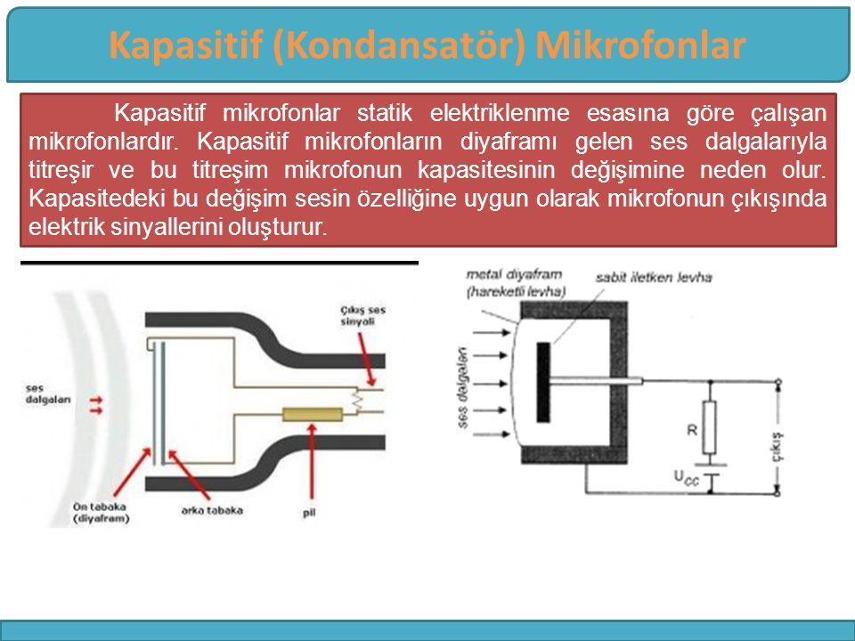 Kapasitif (Kondansatör) Mikrofonlar Kapasitif mikrofonlar statik elektriklenme esasına göre çalışan mikrofonlardır. Kapasitif mikrofonların diyaframı