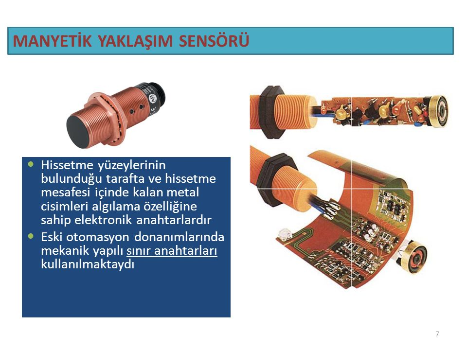 İndüktif – Manyetik Temassız Algılayıcılar Indüktif(endüktif) sensör, kendisine yaklaşan cismi temas etmeden algılamak için kullanılır.