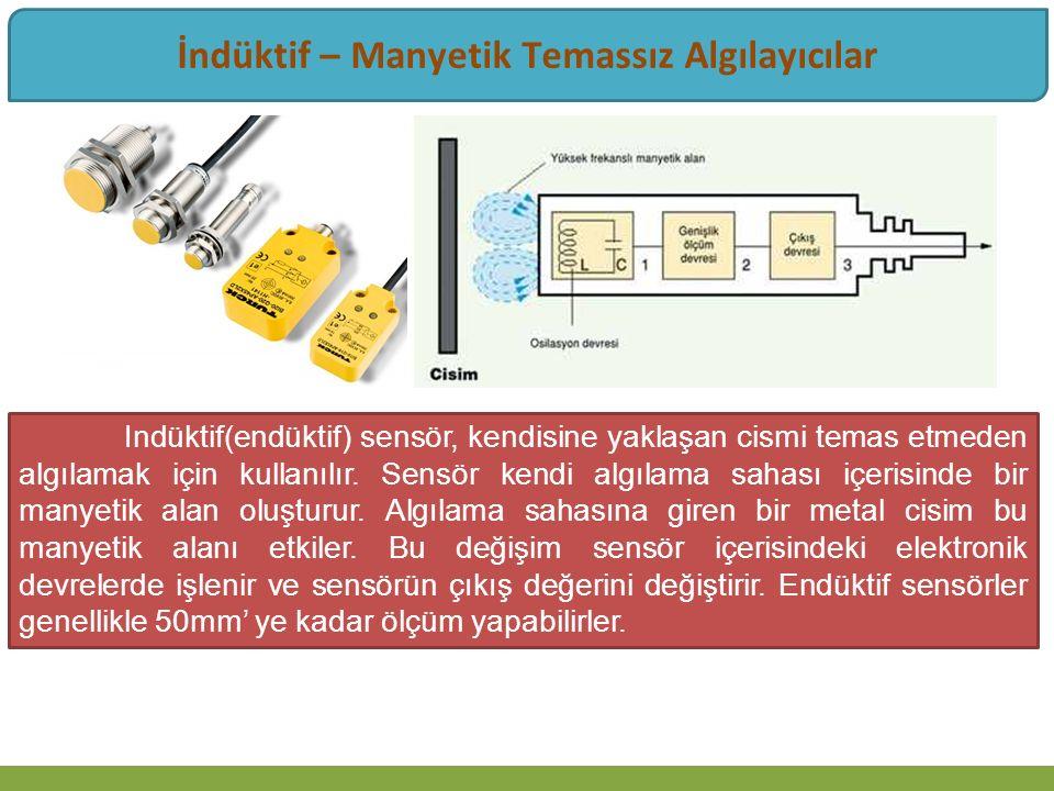 İndüktif – Manyetik Temassız Algılayıcılar Indüktif(endüktif) sensör, kendisine yaklaşan cismi temas etmeden algılamak için kullanılır. Sensör kendi a