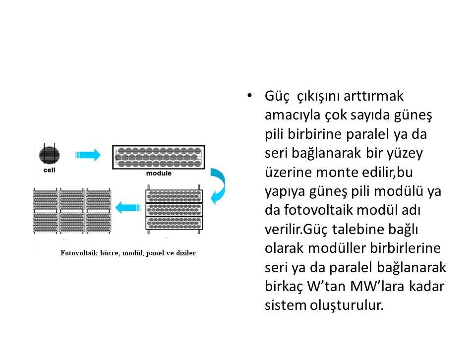 Güç çıkışını arttırmak amacıyla çok sayıda güneş pili birbirine paralel ya da seri bağlanarak bir yüzey üzerine monte edilir,bu yapıya güneş pili modü