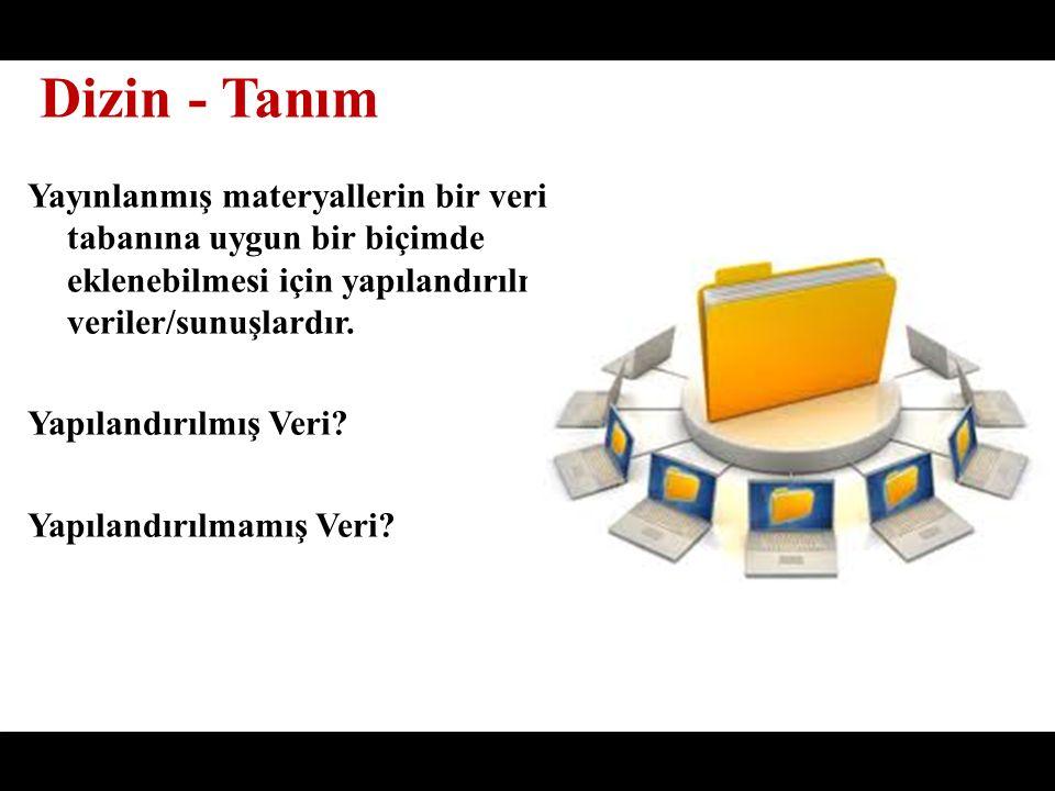 Yayınlanmış materyallerin bir veri tabanına uygun bir biçimde eklenebilmesi için yapılandırılmış veriler/sunuşlardır.