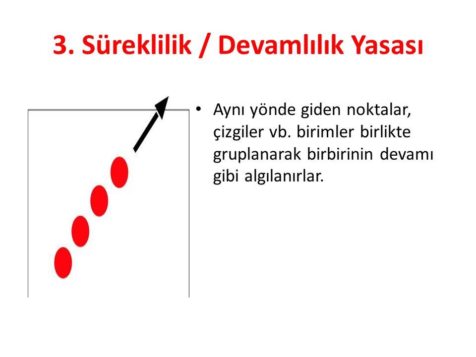 3. Süreklilik / Devamlılık Yasası Aynı yönde giden noktalar, çizgiler vb.