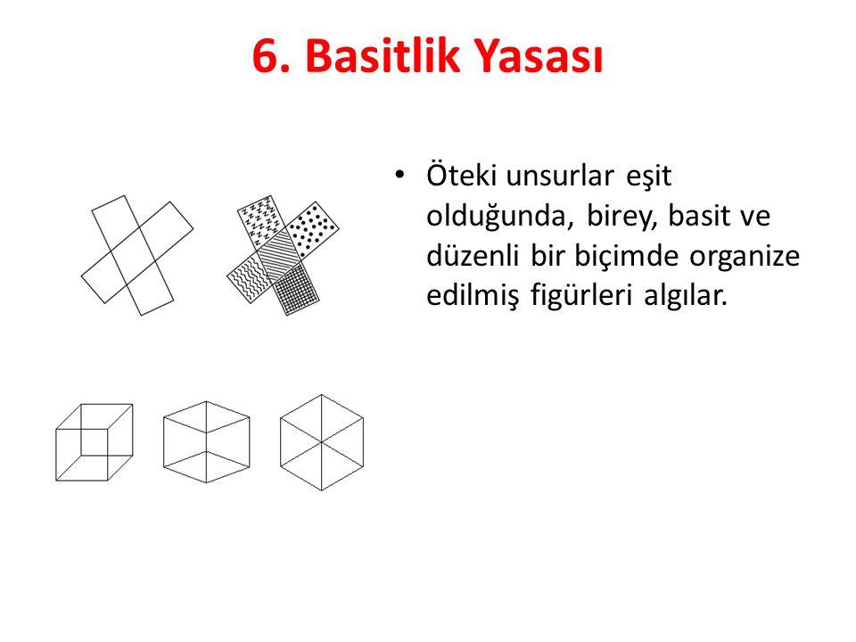 6. Basitlik Yasası Öteki unsurlar eşit olduğunda, birey, basit ve düzenli bir biçimde organize edilmiş figürleri algılar.