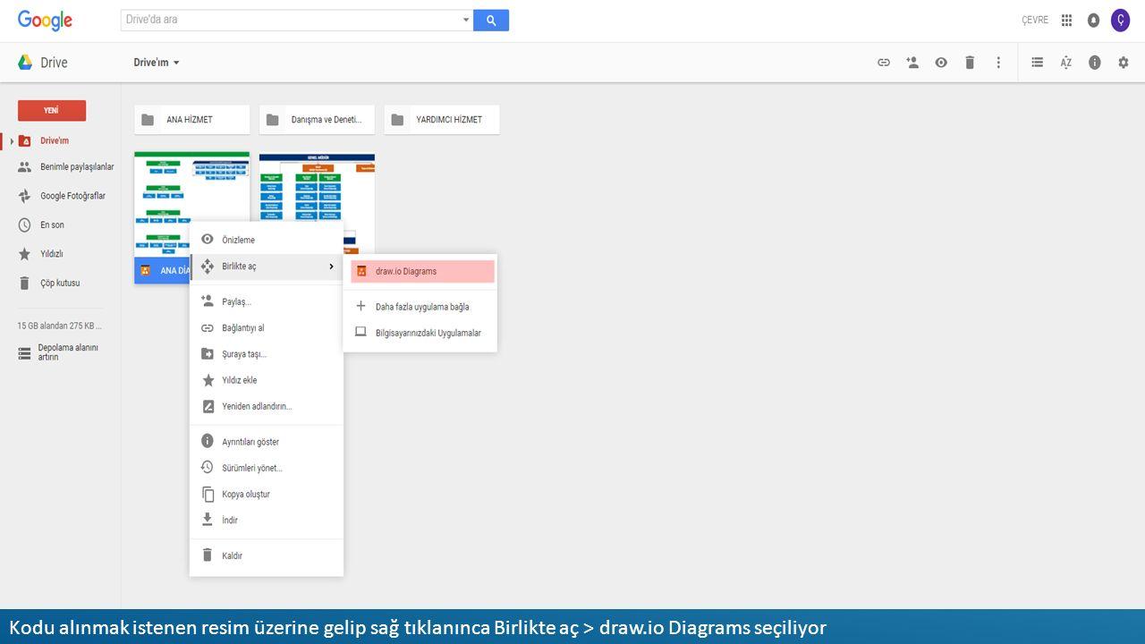 Kodu alınmak istenen resim üzerine gelip sağ tıklanınca Birlikte aç > draw.io Diagrams seçiliyor
