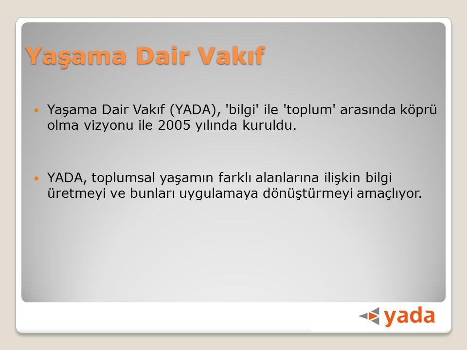 Yaşama Dair Vakıf Yaşama Dair Vakıf (YADA), bilgi ile toplum arasında köprü olma vizyonu ile 2005 yılında kuruldu.