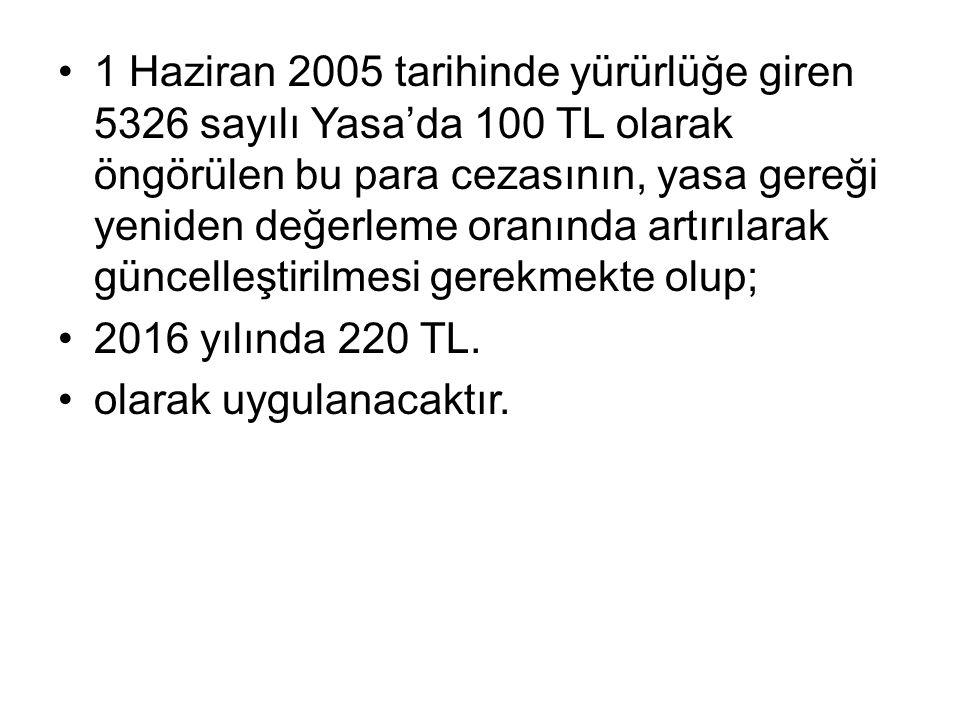 1 Haziran 2005 tarihinde yürürlüğe giren 5326 sayılı Yasa'da 100 TL olarak öngörülen bu para cezasının, yasa gereği yeniden değerleme oranında artırılarak güncelleştirilmesi gerekmekte olup; 2016 yılında 220 TL.