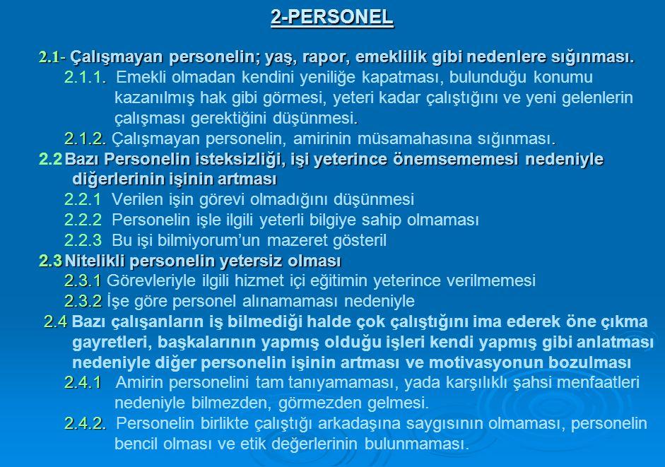 2-PERSONEL 2.1- Çalışmayan personelin; yaş, rapor, emeklilik gibi nedenlere sığınması..