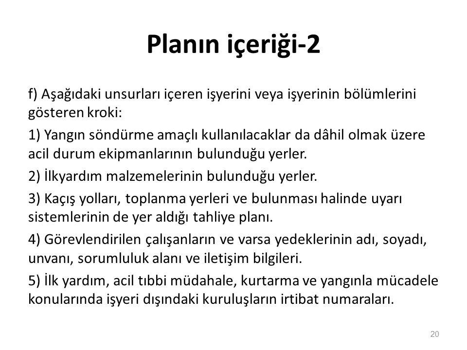 Planın içeriği-2 f) Aşağıdaki unsurları içeren işyerini veya işyerinin bölümlerini gösteren kroki: 1) Yangın söndürme amaçlı kullanılacaklar da dâhil