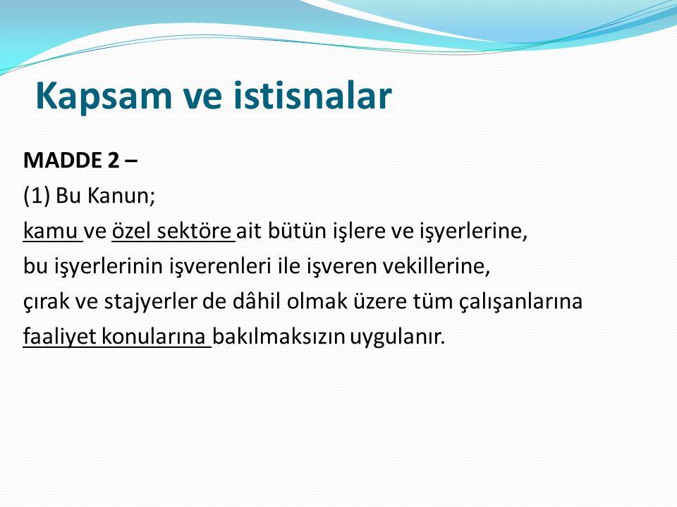 İdari para cezaları ve uygulanması MADDE 26 – (1) Bu Kanunun; a) 4 üncü maddesinin birinci fıkrasının (a) ve (b) bentlerinde belirtilen yükümlülükleri yerine getirmeyen işverene her bir yükümlülük için ayrı ayrı ikibin Türk Lirası,(a) ve (b) b) 6 ncı maddesinin birinci fıkrası gereğince belirlenen nitelikte iş güvenliği uzmanı veya işyeri hekimi görevlendirmeyen işverene görevlendirmediği her bir kişi için beşbin Türk Lirası, aykırılığın devam ettiği her ay için aynı miktar, diğer sağlık personeli görevlendirmeyen işverene ikibinbeşyüz Türk Lirası, aykırılığın devam ettiği her ay için aynı miktar, aynı fıkranın (b), (c) ve (d) bentlerinde belirtilen yükümlülükleri yerine getirmeyen işverene her bir ihlal için ayrı ayrı binbeşyüz Türk Lirası, (ç) bendine aykırı hareket eden işverene yerine getirilmeyen her bir tedbir için ayrı ayrı bin Türk Lirası, c) 8 inci maddesinin birinci ve altıncı fıkralarına aykırı hareket eden işverene her bir ihlal için ayrı ayrı binbeşyüz Türk Lirası,
