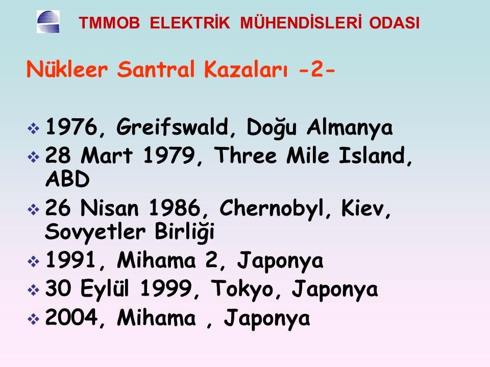 Nükleer Santral Kazaları -2-  1976, Greifswald, Doğu Almanya  28 Mart 1979, Three Mile Island, ABD  26 Nisan 1986, Chernobyl, Kiev, Sovyetler Birliği  1991, Mihama 2, Japonya  30 Eylül 1999, Tokyo, Japonya  2004, Mihama, Japonya
