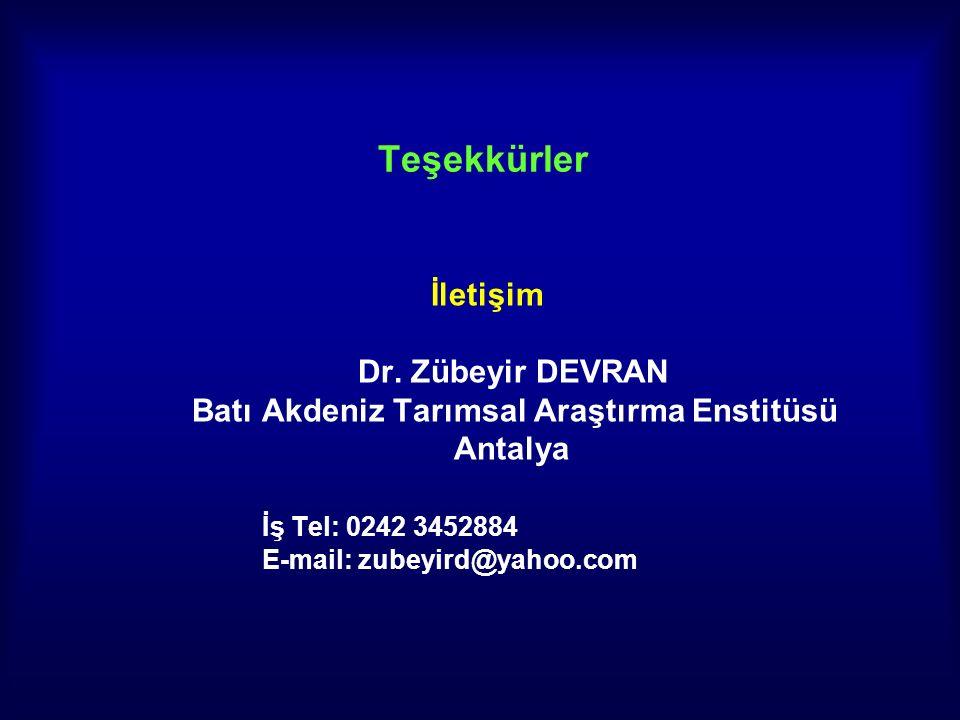 Teşekkürler İletişim Dr. Zübeyir DEVRAN Batı Akdeniz Tarımsal Araştırma Enstitüsü Antalya İş Tel: 0242 3452884 E-mail: zubeyird@yahoo.com