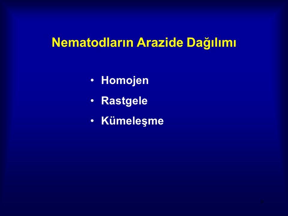 9 Nematodların Arazide Dağılımı Homojen Rastgele Kümeleşme