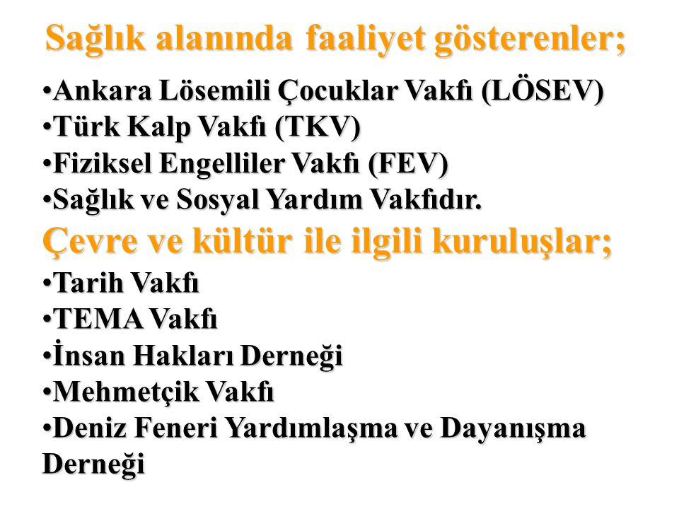 Sağlık alanında faaliyet gösterenler; Ankara Lösemili Çocuklar Vakfı (LÖSEV) Türk Kalp Vakfı (TKV) Fiziksel Engelliler Vakfı (FEV) Sağlık ve Sosyal Ya