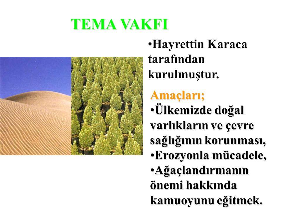 TEMA VAKFI Hayrettin Karaca tarafından kurulmuştur. Amaçları; Ülkemizde doğal varlıkların ve çevre sağlığının korunması, Erozyonla mücadele, Ağaçlandı