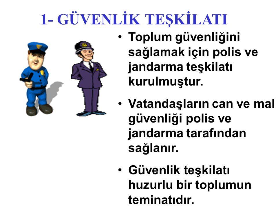 1- GÜVENLİK TEŞKİLATI Toplum güvenliğini sağlamak için polis ve jandarma teşkilatı kurulmuştur. Vatandaşların can ve mal güvenliği polis ve jandarma t