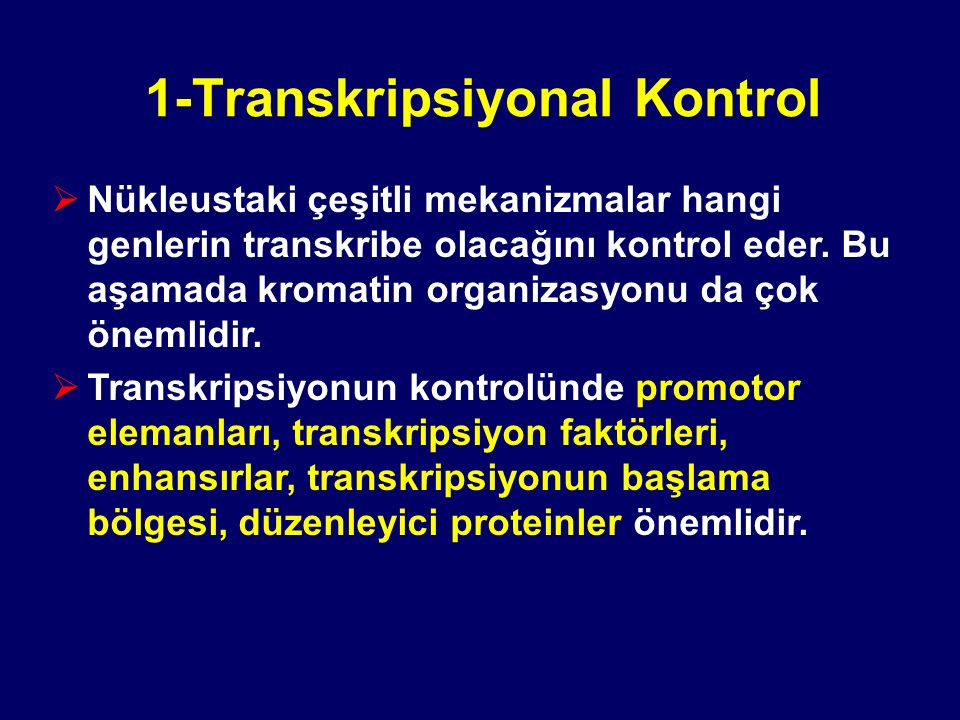 1-Transkripsiyonal Kontrol  Nükleustaki çeşitli mekanizmalar hangi genlerin transkribe olacağını kontrol eder. Bu aşamada kromatin organizasyonu da ç