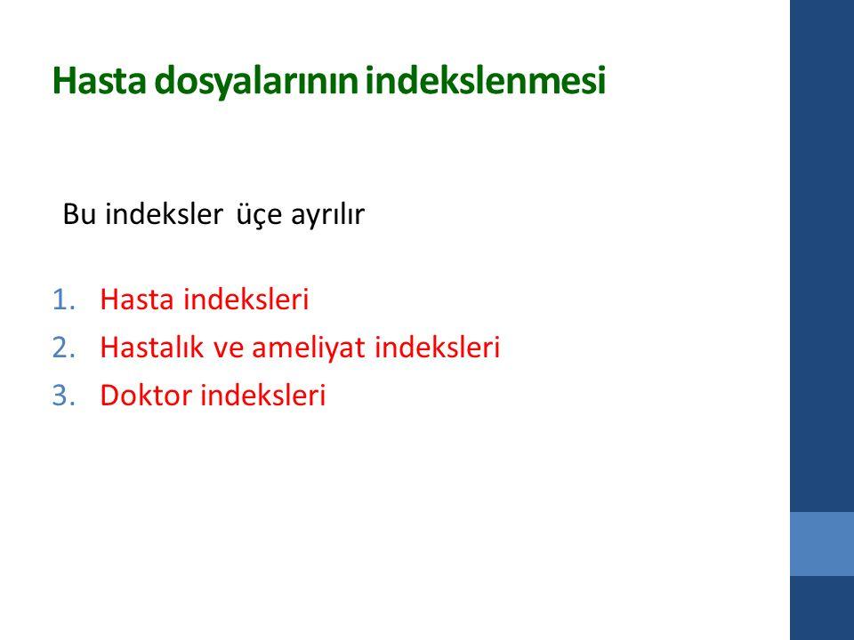 Hasta dosyalarının indekslenmesi Bu indeksler üçe ayrılır 1.Hasta indeksleri 2.Hastalık ve ameliyat indeksleri 3.Doktor indeksleri