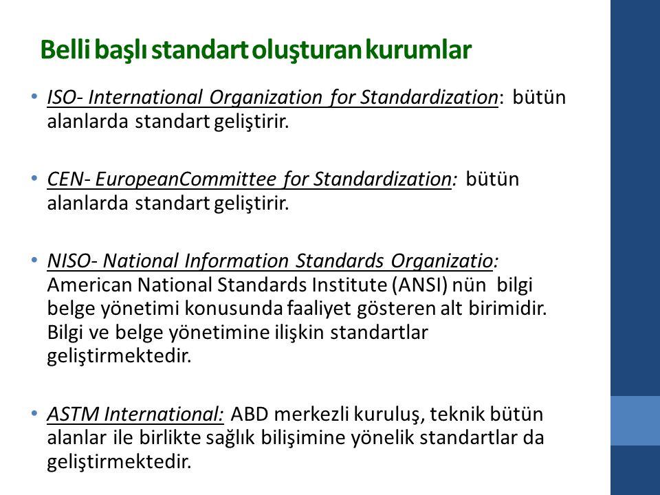 Belli başlı standart oluşturan kurumlar ISO- International Organization for Standardization: bütün alanlarda standart geliştirir.