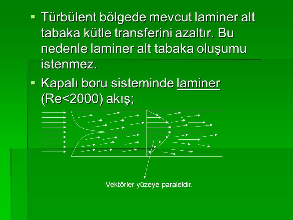  Türbülent bölgede mevcut laminer alt tabaka kütle transferini azaltır. Bu nedenle laminer alt tabaka oluşumu istenmez.  Kapalı boru sisteminde lami