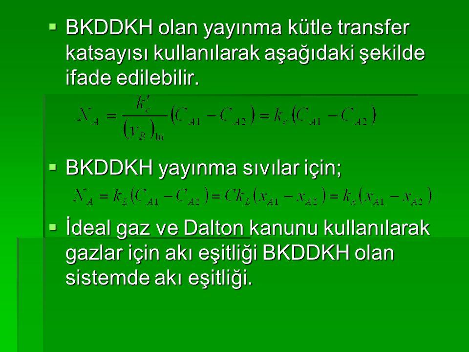  BKDDKH olan yayınma kütle transfer katsayısı kullanılarak aşağıdaki şekilde ifade edilebilir.  BKDDKH yayınma sıvılar için;  İdeal gaz ve Dalton k