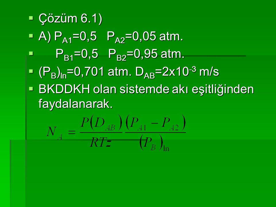  Çözüm 6.1)  A) P A1 =0,5 P A2 =0,05 atm.  P B1 =0,5 P B2 =0,95 atm.  (P B ) ln =0,701 atm. D AB =2x10 -3 m/s  BKDDKH olan sistemde akı eşitliğin