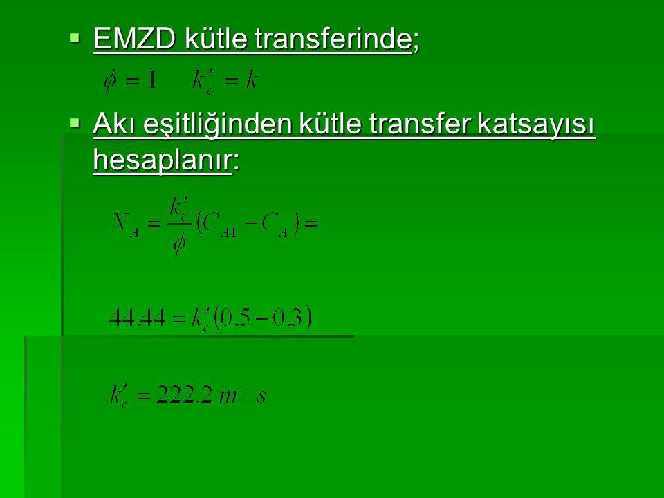  EMZD kütle transferinde;  Akı eşitliğinden kütle transfer katsayısı hesaplanır: