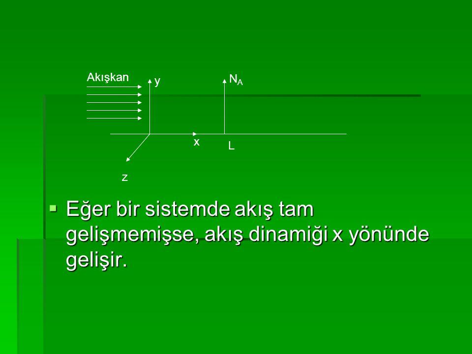  Eğer bir sistemde akış tam gelişmemişse, akış dinamiği x yönünde gelişir. x z y NANA L Akışkan