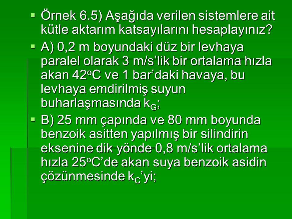  Örnek 6.5) Aşağıda verilen sistemlere ait kütle aktarım katsayılarını hesaplayınız?  A) 0,2 m boyundaki düz bir levhaya paralel olarak 3 m/s'lik bi