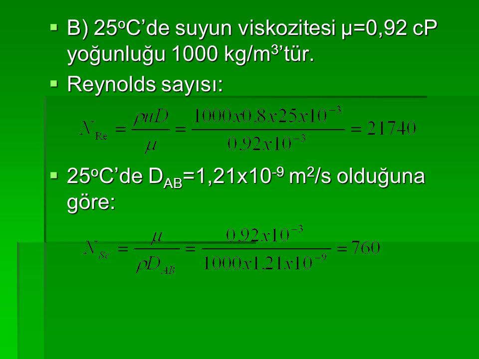  B) 25 o C'de suyun viskozitesi μ=0,92 cP yoğunluğu 1000 kg/m 3 'tür.  Reynolds sayısı:  25 o C'de D AB =1,21x10 -9 m 2 /s olduğuna göre: