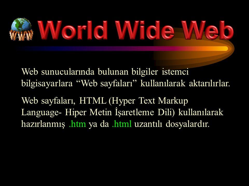 Web sunucularında bulunan bilgiler istemci bilgisayarlara Web sayfaları kullanılarak aktarılırlar.