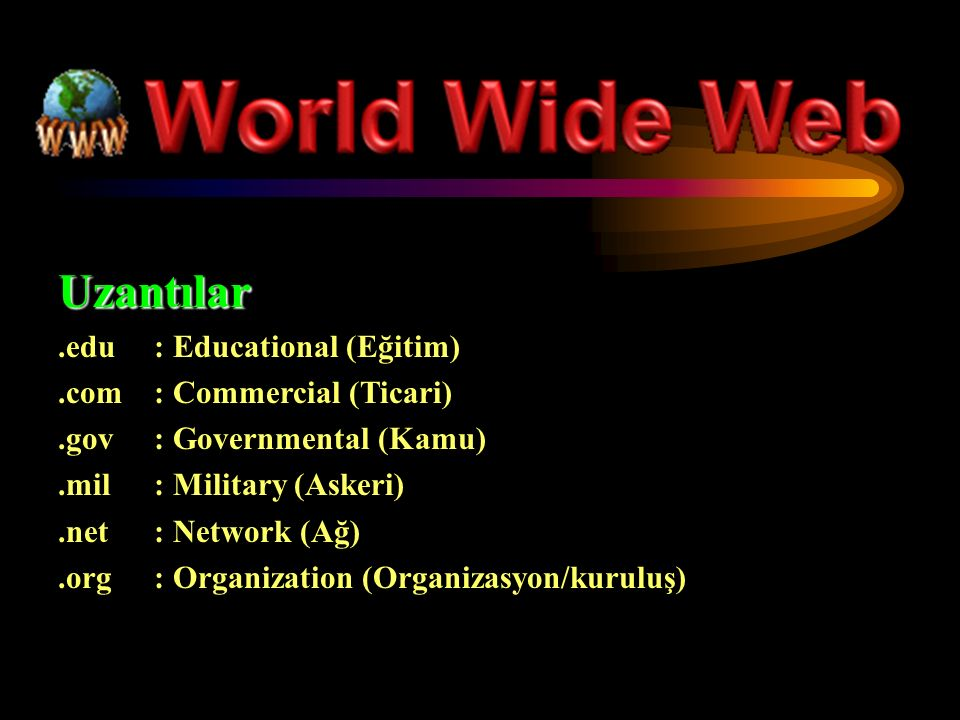 Uzantılar.edu : Educational (Eğitim).com : Commercial (Ticari).gov: Governmental (Kamu).mil: Military (Askeri).net: Network (Ağ).org: Organization (Or