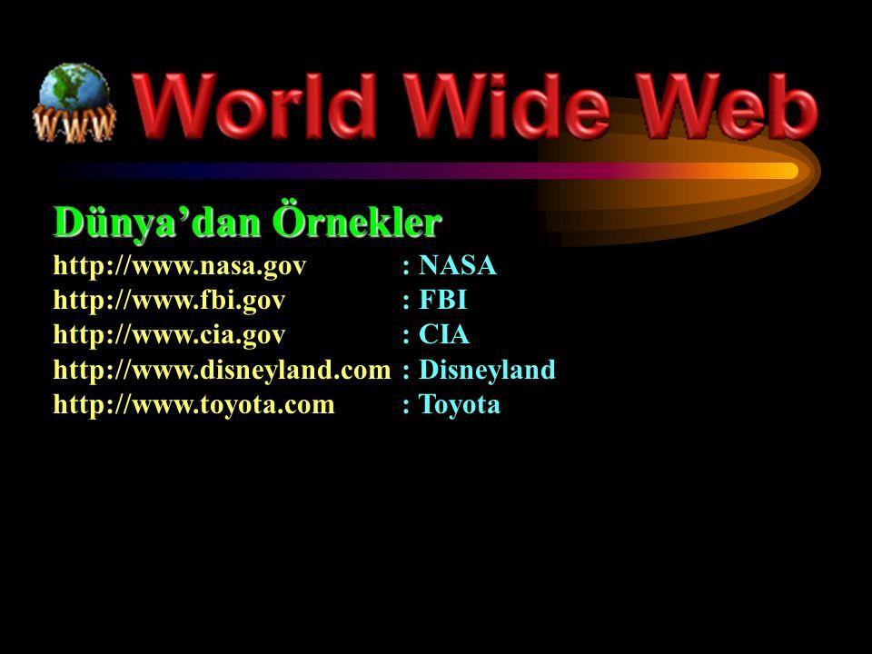 Dünya'dan Örnekler http://www.nasa.gov: NASA http://www.fbi.gov: FBI http://www.cia.gov: CIA http://www.disneyland.com: Disneyland http://www.toyota.com: Toyota