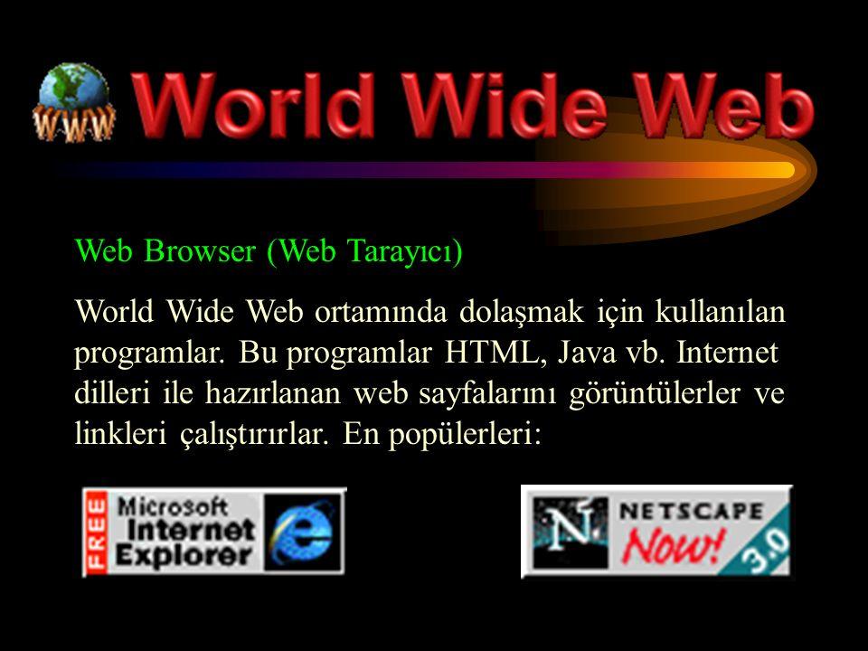 Web Browser (Web Tarayıcı) World Wide Web ortamında dolaşmak için kullanılan programlar.